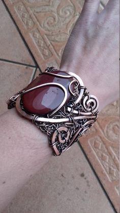 Mookaite gemstone bracelet,Statement wire bracelet,Wire wrapped bracelets,Wire bracelet,Copper wire bracelet,Bohemian bracelet by Tangledworld on Etsy