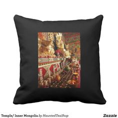 Temple/ Inner Mongolia Pillow.  Offerings of tea and fruits.