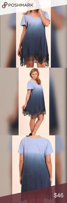 "PLUSONLY ONE LEFT!!Kalli Trapeze Dress Trapeze Ombré Dress with Fringe Hemline. Model is 5'9 wearing XL.  60% cotton 40% polyester.  Measurements XL BUST-42"", Length 36.5"", Hips 52""; 1X 44"" Bust, 36.5 Length, 54"" Hips; 2X 46"" Bust, 36.5"" L, Hips 56"". Dresses"