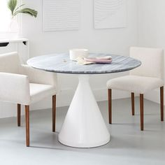 Silhouette Pedestal Dining Table - Gray Marble | west elm