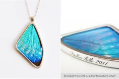 Morpho Zephyritis Single Real Butterfly Wing Glass Pendant by Papillon Belle on hellopretty.co.za