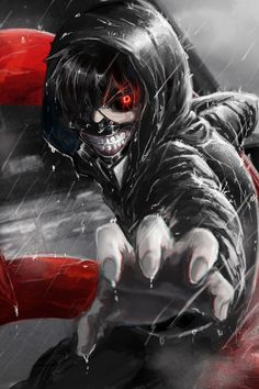 640x960 Wallpaper kaneki ken, tokyo ghoul, look, gesture, claw, rain