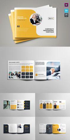 Amazing Landscape Brochure Templates For Corporate Business Graphic Design Brochure, Corporate Brochure Design, Brochure Layout, Graphic Design Posters, Creative Brochure Design, Company Brochure Design, Corporate Business, Business Brochure, Corporate Profile