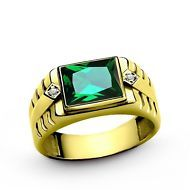 Green EMERALD with DIAMOND Accents in 10K Fine Yellow Gold Mens Ring all sz