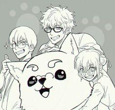 Gintoki, Kagura, Sinpachi and Sadaharu with glasses  (≧▽≦)