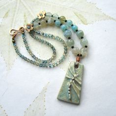 NICE JOB ON SEED BEAD COLOR MIX......................Ceramic dragonfly necklace Dragonfly pendant by THEAjewellery