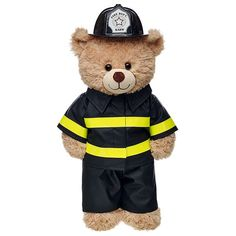 Your furry friend can save the day in this Firefighter Costume. This black firefighter costume includes a jacket, pants and helmet. Build-A-Bear Workshop Build A Bear Shop, Build A Bear Accessories, Custom Teddy Bear, Build A Bear Outfits, Boyds Bears, Teddy Bears, Teddy Bear Pictures, Teddy Bear Clothes, Kid Picks