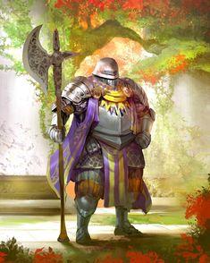 m Fighter Plate Armor Helm Cloak Halberd male urban City Garden Guard story by kekai kotaki lg Knight Drawing, Knight Art, Fantasy Inspiration, Character Inspiration, Character Art, Fantasy Armor, Medieval Fantasy, Dcc Rpg, Cyberpunk