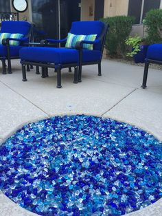 Change out your boring lava rock for colored fireglass by AZ Backyard Custom. We have dozens of colors to choose from! Propane Fire Pit Table, Fire Table, Custom Fire Pit, Fire Glass, Tables, Patio, Cool Stuff, Backyard Ideas, Lava