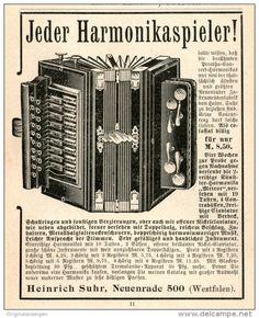 Original-Werbung/Inserat/ Anzeige 1902 : HARMONIKA / HEINRICH SUHR NEUENRADE - ca. 90 x 100 mm