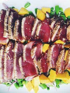Sesame Crusted Tuna with Pea and Mango Salad