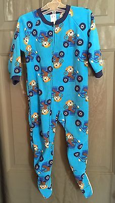 Toddlers Gerber Flame Resistant Blue, Monkey Riding Motorcycles Footie Pajamas