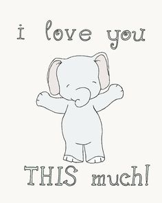 Elephant Nursery Art I Love You This Much by SweetMelodyDesigns