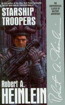 "Starship Troopers is a science fiction novel by Robert A. Heinlein, first published (in abridged form) as a serial in The Magazine of Fantasy & Science Fiction (October, November as ""Starship Soldier"") and published hardcover in Science Fiction Romane, Science Fiction Books, Sci Fi Novels, Sci Fi Books, Horror Books, Fiction Novels, Comic Books, Good Books, Books To Read"