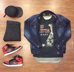 Outfit grid - Denim jacket & Nikes