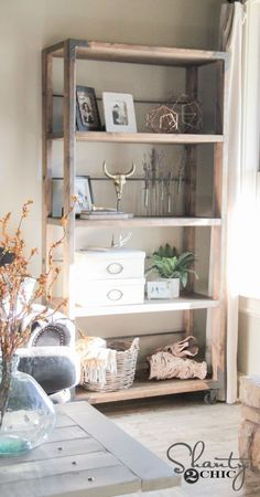 LOVE this DIY bookcase Free plans and full howto tutorial The whole thing cost 100 to build Diy Home Decor Projects, Diy Wood Projects, Furniture Plans, Home Furniture, Modern Furniture, Bathroom Furniture, Antique Furniture, System Furniture, Apartment Furniture