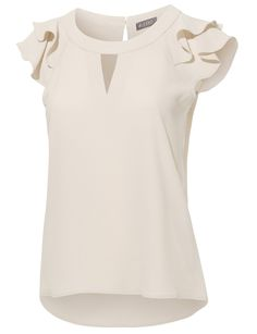 Best 12 Little details make this silk top undeniably feminine, like lace and ruched accents – SkillOfKing. Blouse Styles, Blouse Designs, Creation Couture, Chiffon Ruffle, Western Dresses, Caps For Women, Casual Tops, Cap Sleeves, Blouses For Women