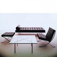 Barcelona Day Bed, Barcelona Table and Barcelona Chair by Ludwig Mies van der Rohe for Knoll International