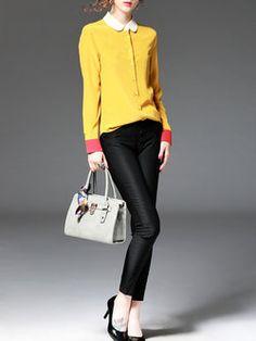 Color-block Buttoned Blouse