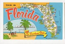 Florida The Sunshine State USA Old Map Postcard 420a