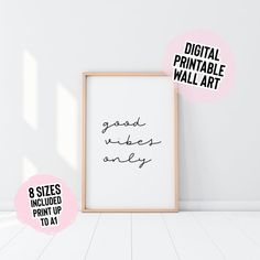 Digital Download Good Vibes Only Wall Print Digital   Etsy