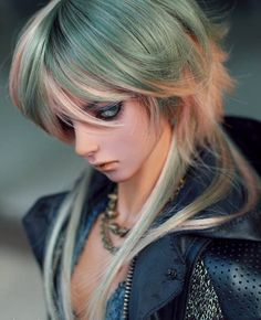 """BJD Doll Hair Wig 8-9""""1/3 SD DZ DOD LUTS Multi-color Long Turn-up At The Back"""