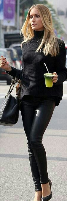 Leather leggings and sweater
