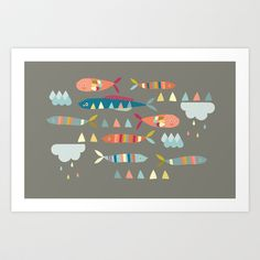 Fish Clouds Art Print by The Chalk Lion - $19.00