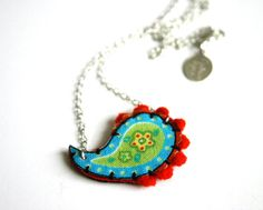 Paisley necklace  colorful hand sewn textile by MaBelleEpoque, 36.00