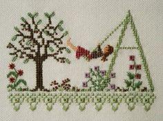 0 point de croix fille sur balancoire - cross stitch girl on a swing