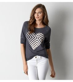 Soft Cotton Blend <3 AEO Long Sleeve Graphic T-Shirt
