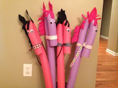 Stick horses made out of pool noodles.....because almost every princess movie has a horse!