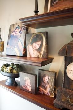 Canvases on a shelf vs. on the wall. Can be easily done on wood with Mod Podge.