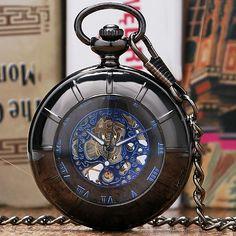 Black Smooth Stainless Steel Pocket Watch Mechanical Watches Chain Men Women Clock P886-7C
