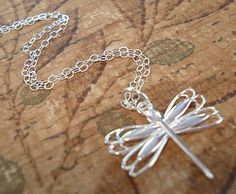 Dragonfly Necklace Tiny Dragonfly Necklace by RhondasTreasures, $18.00