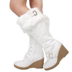 aa9891aab64 Cheap faux fur knee high bootsAvalon24 Faux Fur Rubber Wedge Boots WHITE  White Knee High Boots