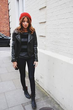 Millie Mackintosh Photograph...♡ skinny jeans. All Black. #Trend. Red beanie. Chelsea boots