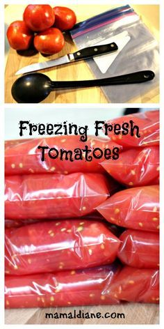 Tomatoes Freezing Fresh Tomatoes is so simple and a perfect way to enjoy your harvest all year long. No special tools needed.Freezing Fresh Tomatoes is so simple and a perfect way to enjoy your harvest all year long. No special tools needed. Freezing Vegetables, Frozen Vegetables, Fruits And Veggies, Freezing Fruit, Freezing Green Beans, Freezing Strawberries, Fresh Tomato Recipes, Vegetable Recipes, Garden Tomato Recipes