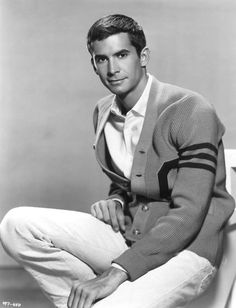 Anthony Perkins as a cardigan librarian
