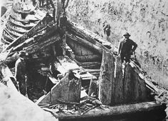 'GOKSTAD' Viking ship excavation, as photographed in 1880.  The Gokstad ship is a Viking ship found in a burial mound at Gokstad farm in Sandar, Sandefjord, Vestfold, Norway. Dendrochronological dating suggests that the ship was built around 890 AD.
