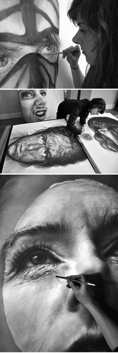 Melissa Cooke working on her graphite drawings.