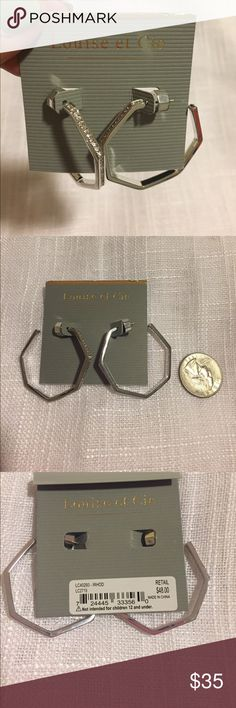 1 DAY SALE NWT Louise et Cie crystal hoops Rhodium plated.  NWT and with crystals lining front.  Pet & smoke free home.  Also available in gold tone in separate listing.  Come with gray drawstring jewelry bag for gifting! Vince Camuto Jewelry Earrings