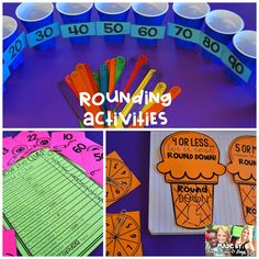 This post is for all my third grade friends out there! Let's talk about Rounding Numbers and Place Value. First, here's a simple idea that can be used with things you have around your house/classroom Rounding 3rd Grade, Rounding Activities, Second Grade Math, 4th Grade Math, Grade 3, Rounding Numbers, Math Numbers, Rounding Anchor Chart, Math Round