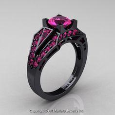 Edwardian 14K Black Gold 1.0 Ct Pink Sapphire Engagement Ring R285-14KBGPS