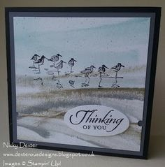 """Stampin' Up! direct-to-paper ink technique card; stampin' Supplies; Stamps: Wetlands; Paper: Naturals White, Basic Grey, Basic Black; Ink: Soft Sky, Crumb Cake, Smoky Slate (swipe the edges of ink pads on a piece of card stovk to make a """"seascape""""), Basic Black; .  The image of the waders was stamped using Basic Black Ink. Accessories: Large Oval Punch, Itty Bitty Shapes Punch Pack, Linen Thread"""