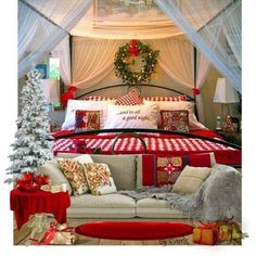 All In Red And Green For Bedroom On Christmas