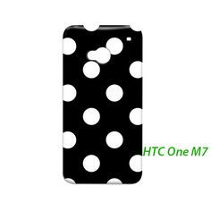 HTC One Polka Dots Black White HTC One M7 Hardshell Case Cover