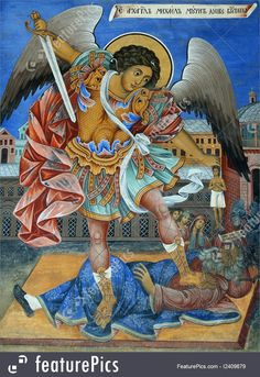 """""""Holy Archangel Michael Torments the Soul of the Rich Man"""" (the Russian inscription 'Архангел Михаил мучит душу богатого'), Rila Monastery, Bulgaria, ca Religious Symbols, Religious Images, Religious Art, Bulgaria, Gabriel, Russian Icons, Saint Michel, Iconic Photos, Orthodox Icons"""