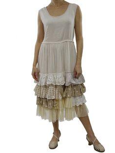 Ecru Dress Rhum Raisin Layered Dresses, Frock Coat, Refashion, Frocks, No Frills, Layering, Ruffles, Upcycle, Upcycling