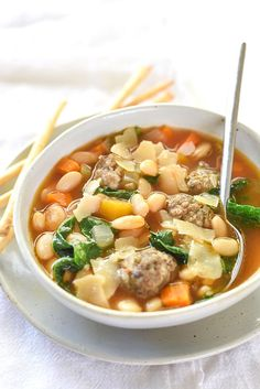 Slow Cooker Tuscan White Bean Soup | foodiecrush.com